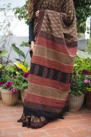 Brown block printed  Bagru saree - Kaisori