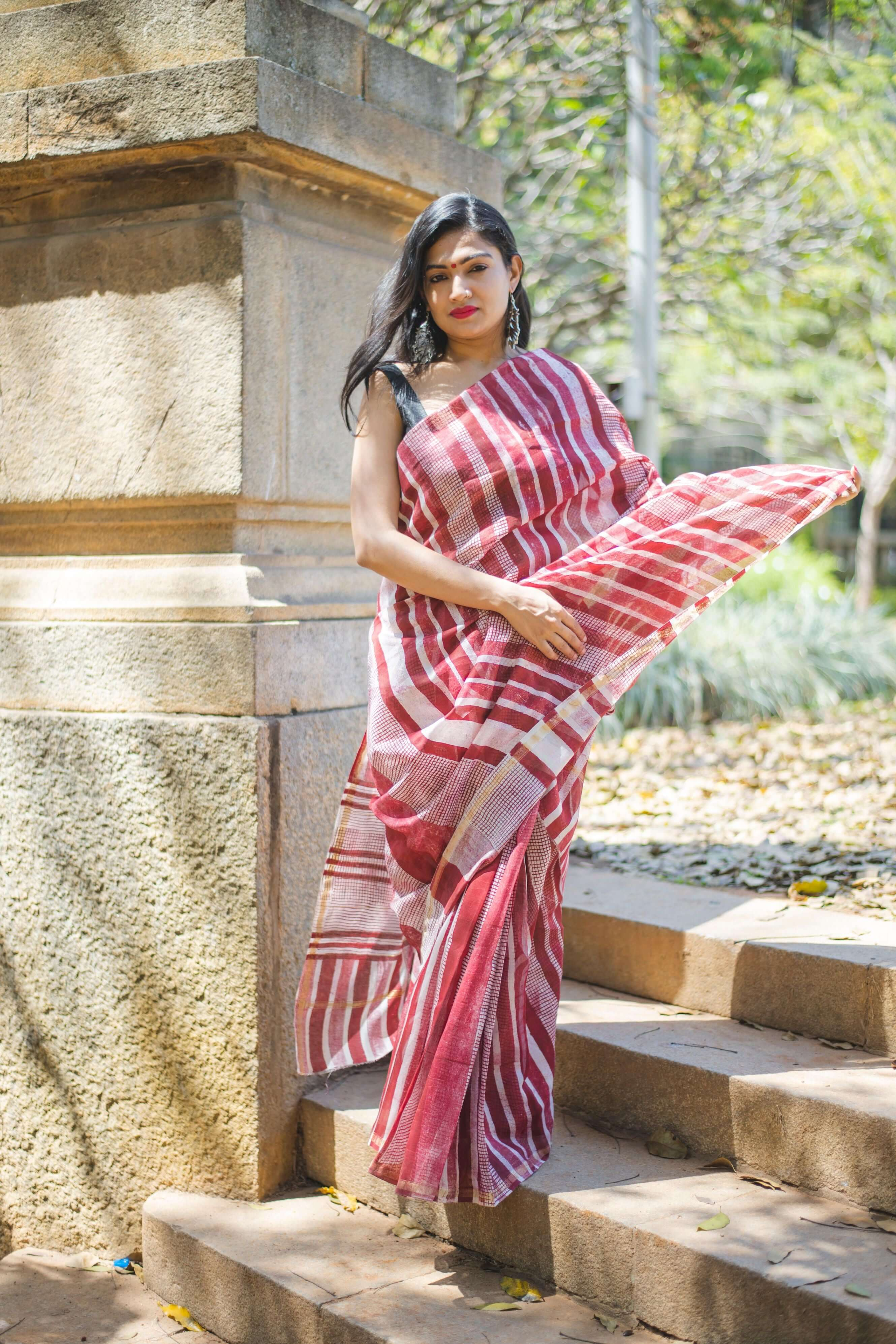 Block printed Red silk cotton saree - Kaisori