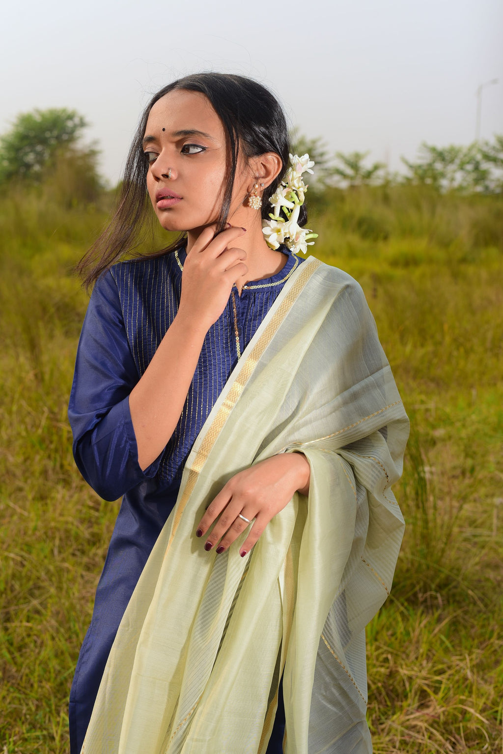 Kaisori Noor collection - Maheswari green silk cotton dupatta - Kaisori