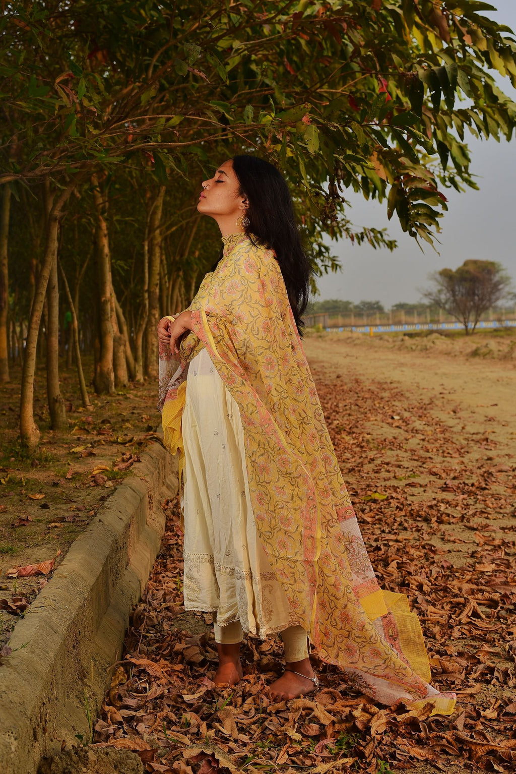 Kaisori Noor collection - Kota yellow block print dupatta - Kaisori