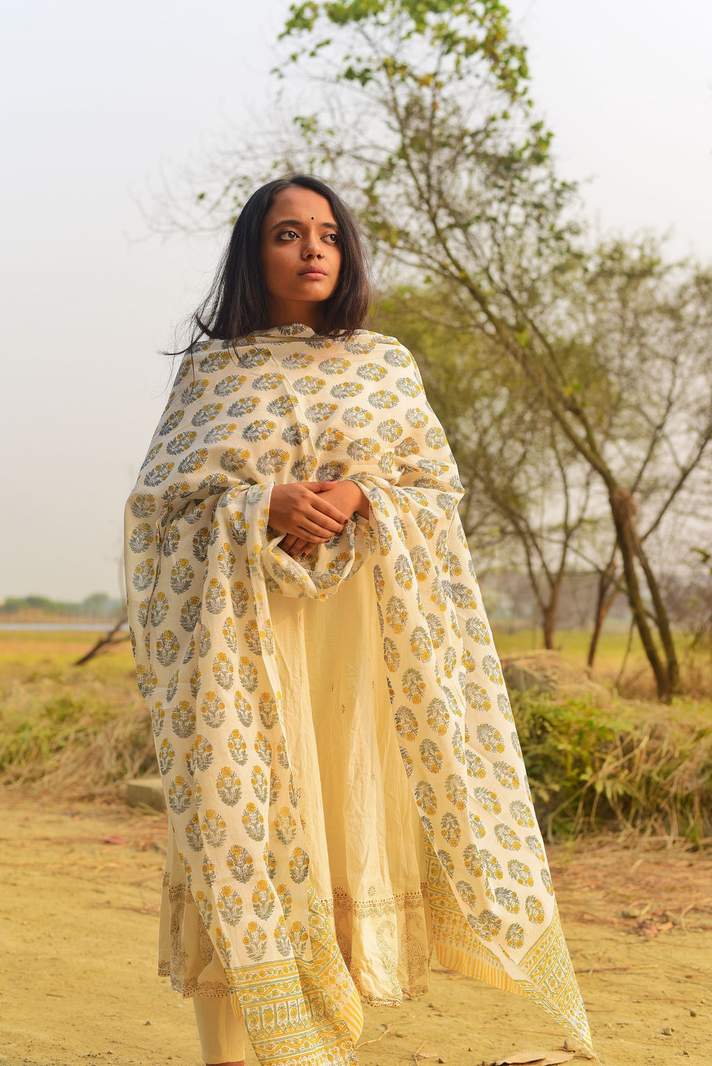 Kaisori Noor collection - Block printed cotton dupatta - Kaisori