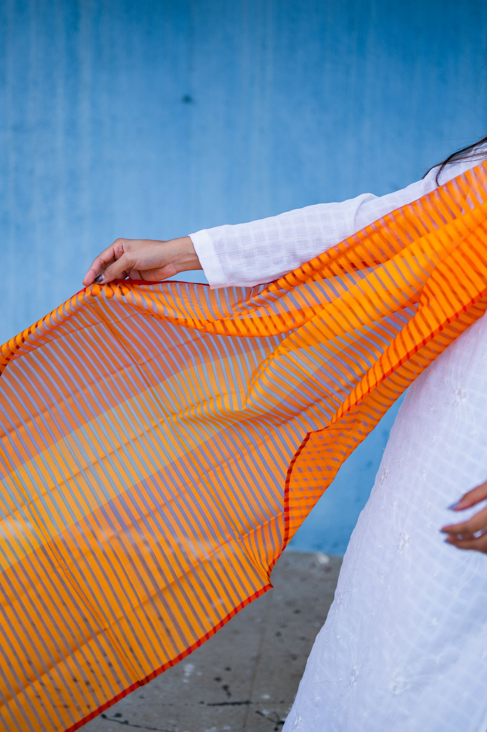 Maheswari handloom stole - Orange - Kaisori
