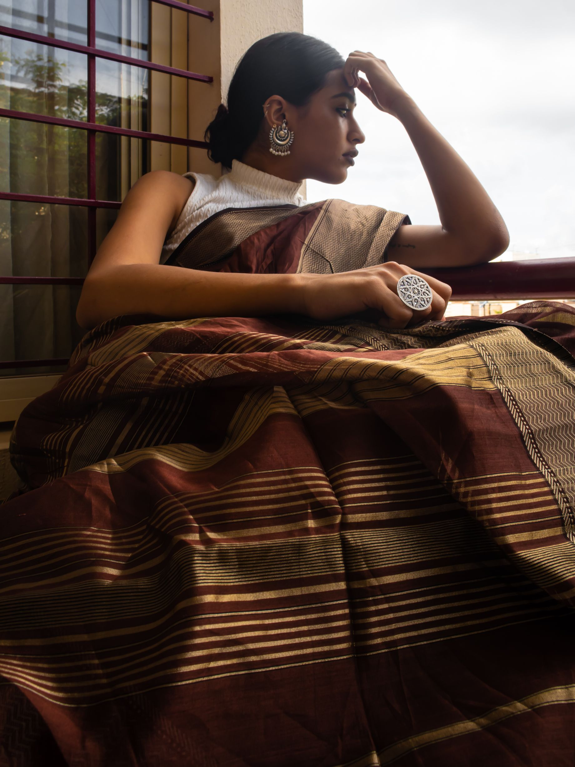 Brown Maheshwari Saree - Kaisori