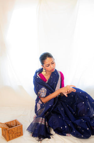Utsav- Neela silk cotton Chanderi saree