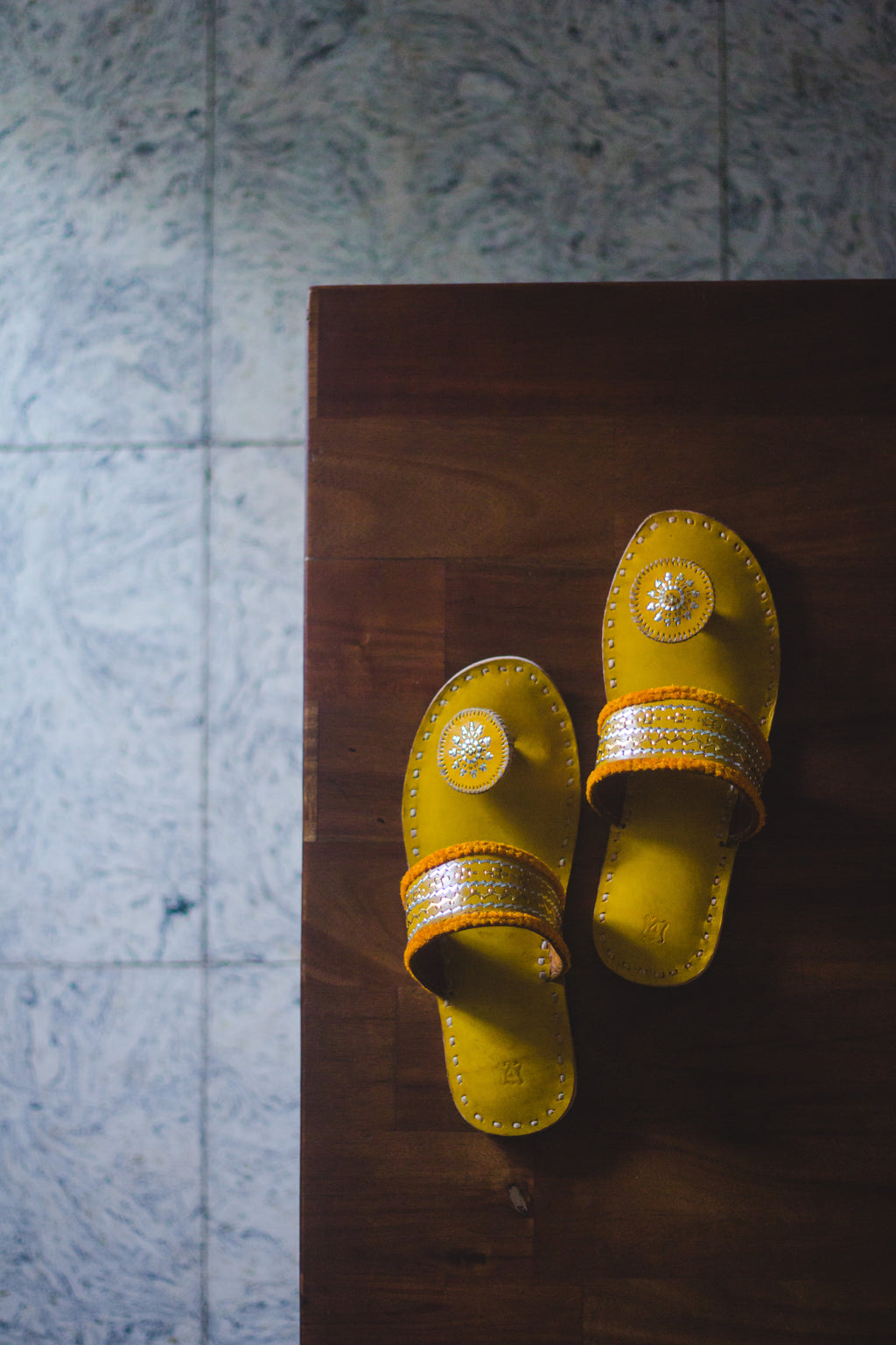 Kaisori Kutch handcrafted Yellow  slippers - Kaisori