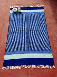 Rajasthan Blue Jute Cotton carpet - Kaisori