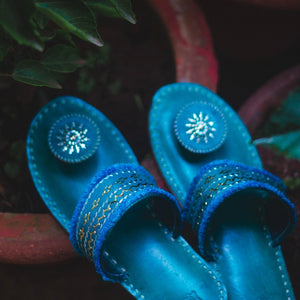 Kaisori Kutch handcrafted Teal Blue slippers - Kaisori