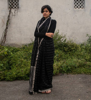 Black Chanderi Saree - Kaisori