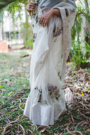 Kota White Silk saree - Kaisori