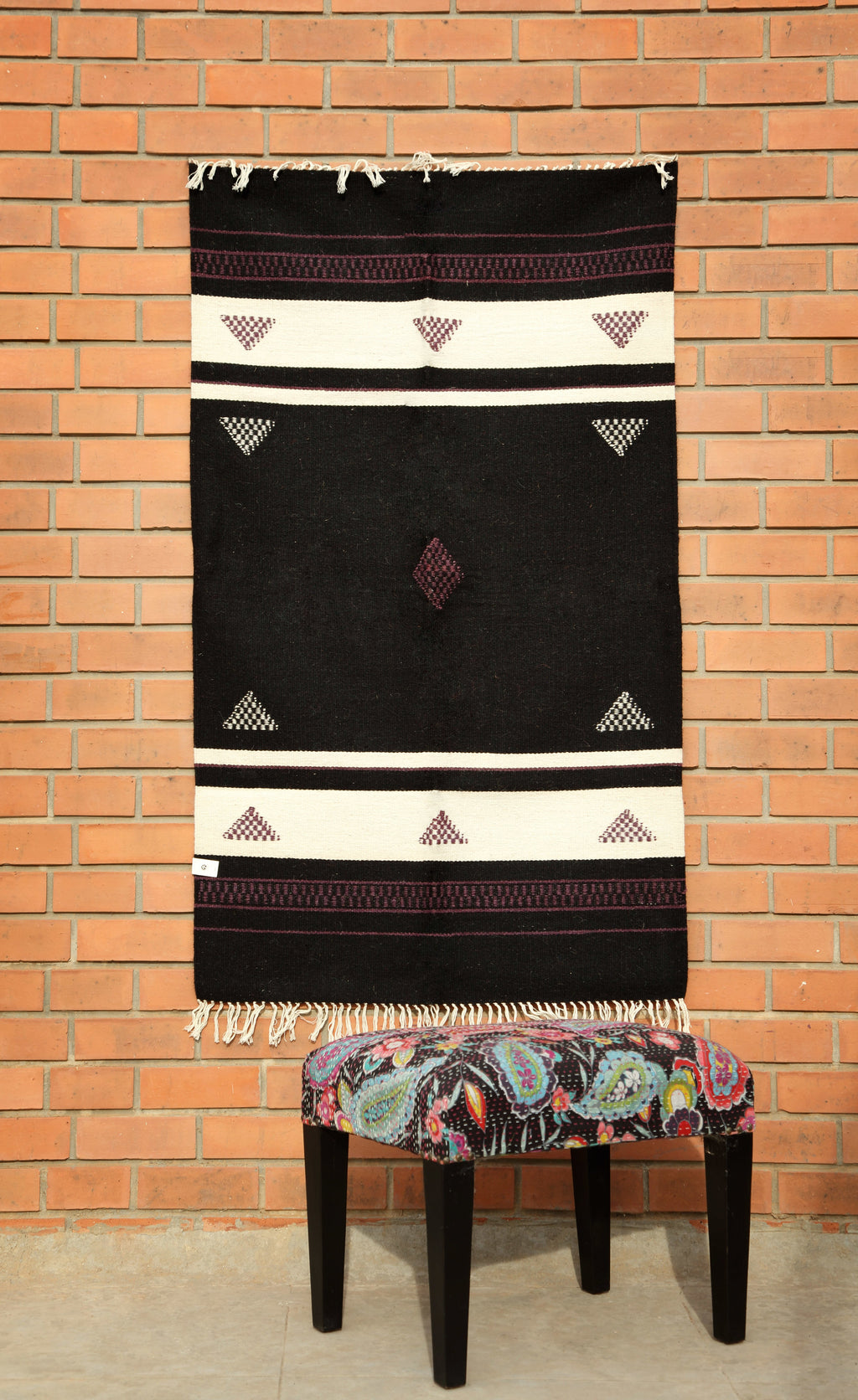 Rajasthan Black Kutch work carpet - Kaisori