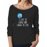From the LAUGH collection: I live to laugh and laugh to live - Women's Terry Raw-Edge 3/4-Sleeve Raglan T-Shirt