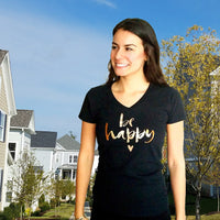 Be Happy v-neck t-shirt