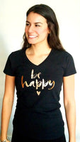 Be Happy Short Sleeve V-Neck T-Shirt