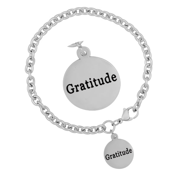 New Stainless Steel Charm Bracelets With Gratitude Stamped Round Charms Fashion Jewelry For Men Women