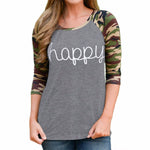 Happy Print Tee Shirt Loose long sleeve.  Plus Sizes available