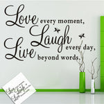 Removable PVC Live Love Laugh Letters Transprent Waterproof Wall Stickers Vinyl Wall Quotes Decal Home Decor