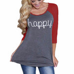 Women Happy  Long Sleeve O-neck T-Shirt. Plus sizes avaiable