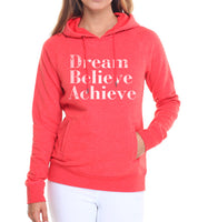 pullovers women Loose fit fleece hoodies Dream believe achieve letters printing sweatshirt black pink white brand tracksuit 2017
