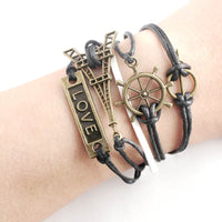 Handmade Vintage Bronze Anchor Tower Love Leather Weave Jewelry Bracelet