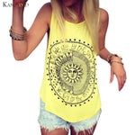 Women Sun Printed Sleeveless Vest We Live By The Sun
