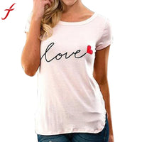 Beautiful script letters to express LOVE. Women FashionT-Shirt , Short Sleeve, White