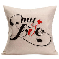 LOVE Letter Square Pillow Cover Cushion Case Pillowcase Zipper Closure