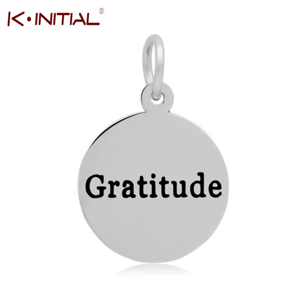 Stainless Steel Round Gratitude charm Pendant
