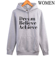 fleece hoodies black pink white Dream believe achieve brand tracksuit 2017 pullovers women Loose fit letters printing sweatshirt