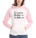 Dream believe achieve letter print sweatshirt black gray pullover women raglan sleeves fleece hoodies long sleeve tracksuit 2017