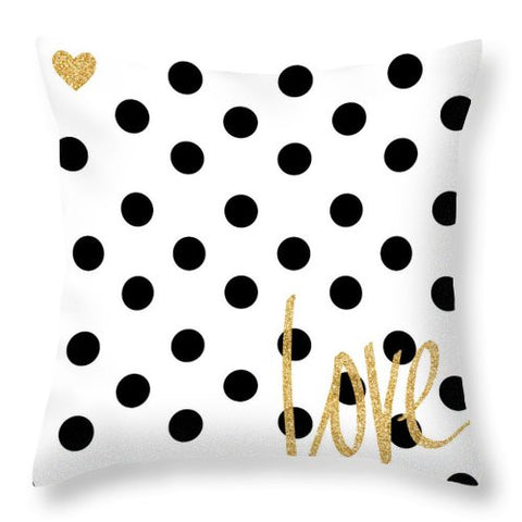 Love With Dots Throw Pillow