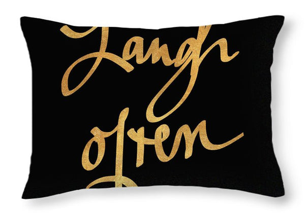 Laugh Often On Black Throw Pillow