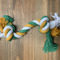 Green and yellow rope toy
