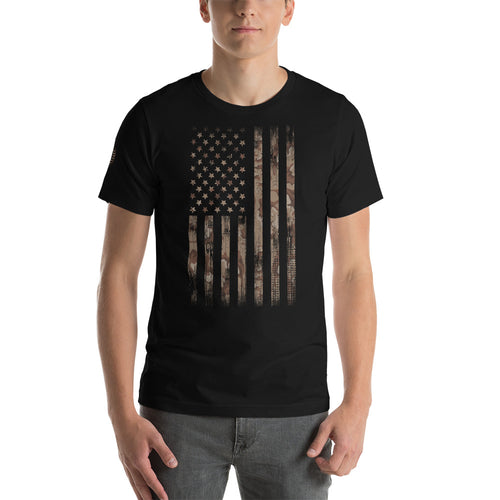 Camo Desert Amercian Flag T Short-Sleeve T-Shirt - American Approved