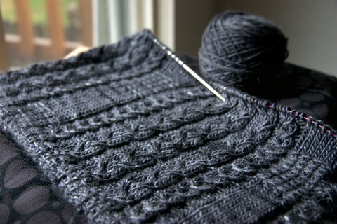 Cabled Cowl on the needles
