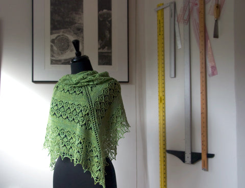Fledge Shawl in Lace and a Wall of Rulers