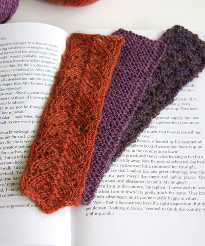 Three variations of knitted bookmarks