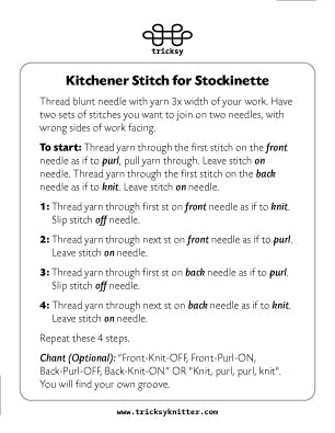Kitchener Stitch Cheat Card