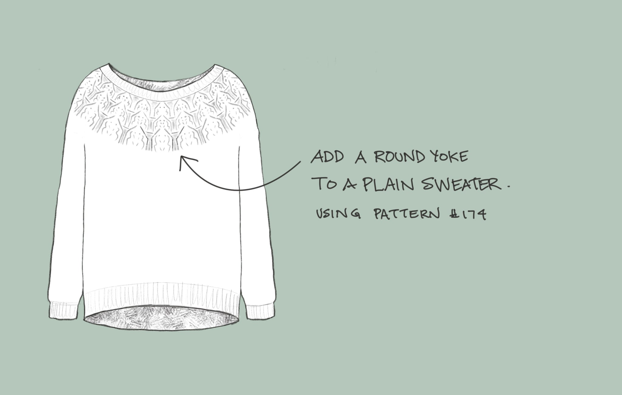 Sketch of a sweater with a round yoke