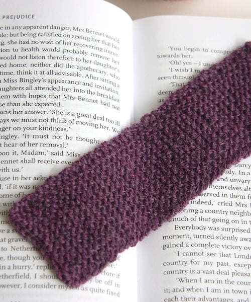 Knitted garter stitch bookmark