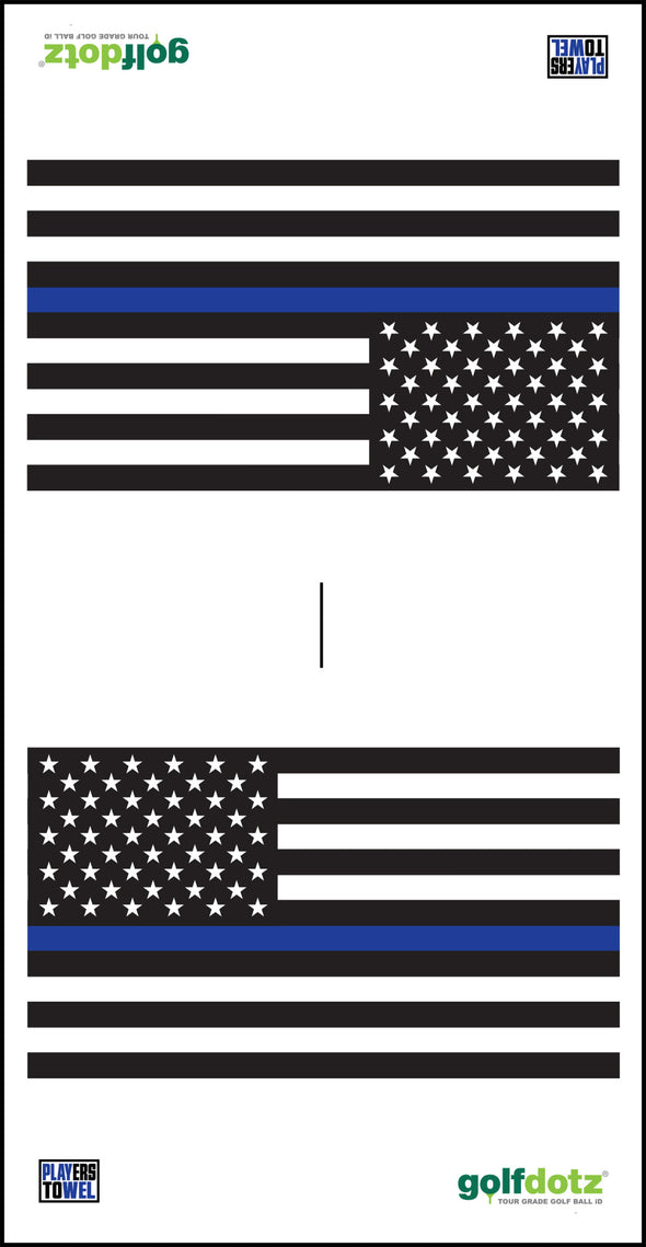 "Custom Golfdotz Thin Blue Line Tour Towel 22"" X 40"""