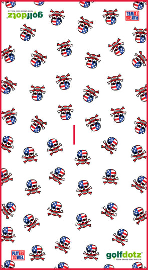 "Custom Golfdotz USA Skull Tour Towel 22"" X 40"""