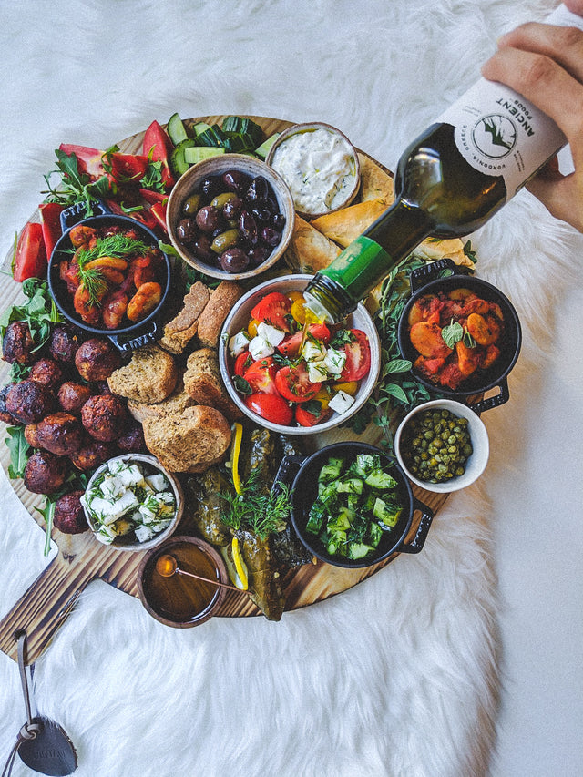 Plant Based Greek Mezze Platter Drizzled in Olive Oil