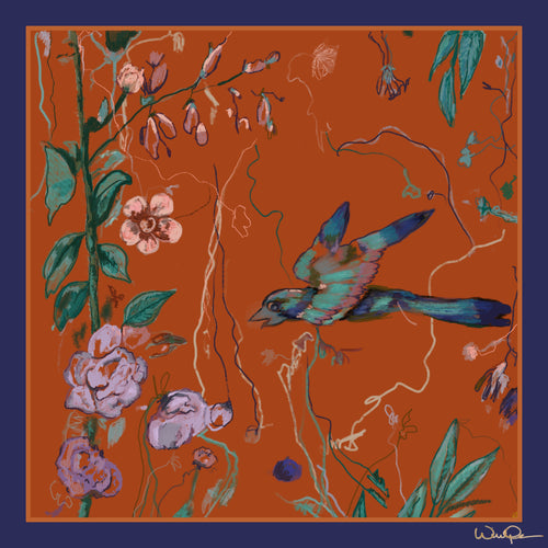 Birds of a Feather Orange - Small Silk Scarf