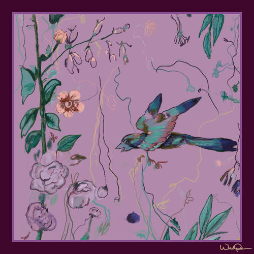 Birds of a Feather Lavender - Small Silk Scarf