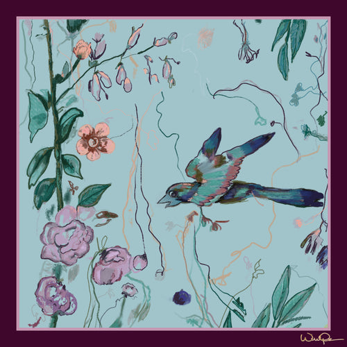 Birds of a Feather Aqua - Small Silk Scarf