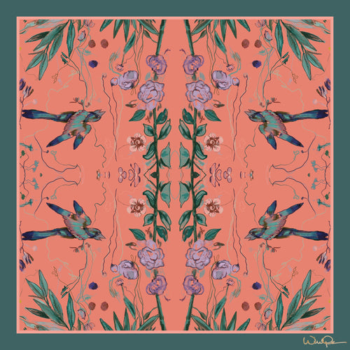 Birds of a Feather Coral - Large Silk Scarf