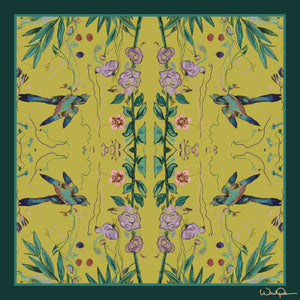 Birds of a Feather Lime - Large Silk Scarf