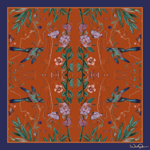 Birds of a Feather Orange - Large Silk Scarf