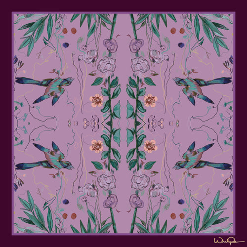 Birds of a Feather Lavender - Large Silk Scarf