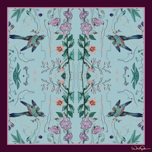 Birds of a Feather Aqua - Large Silk Scarf